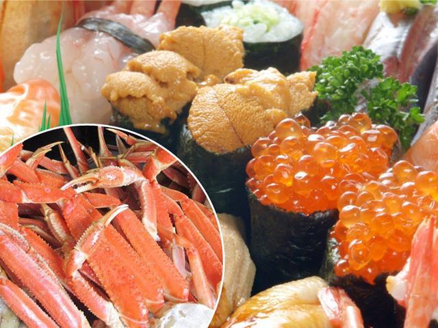★大盤振舞!本ズワイガニ&10種類のお寿司食べ放題!